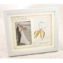 60th Anniversary White Double Photo Frame from Juliana's Impressions range