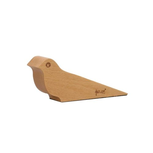 Natural Wood Bird Design Door Shield Door Stop/Holder