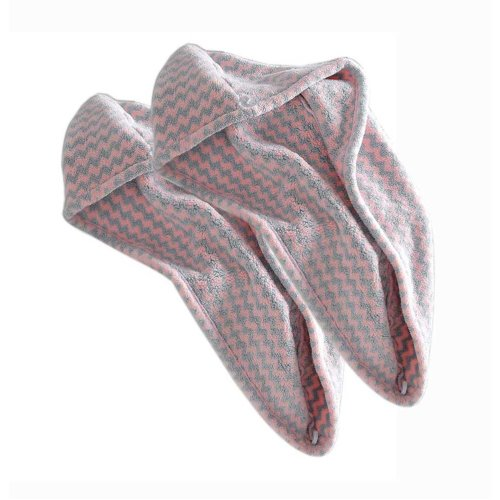 Microfiber Hair Turban Wrap Hair Drying Towels for Long Hair, Pink and Grey Waves 2 Packs