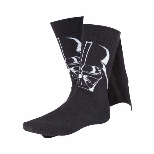 Star Wars Adult Male Darth Vader 3D Cape Crew Socks Size 39/42 - Black