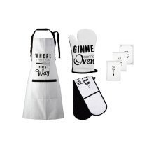 Pun and Games Oven Gloves, Apron And Tea Towels, Set Of 6