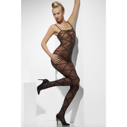 Smiffy's Sheer Body Stocking Criss-cross Pattern Crotchless - Black -  sheer black body stocking fancy dress ladies womens sexy bodystocking costume