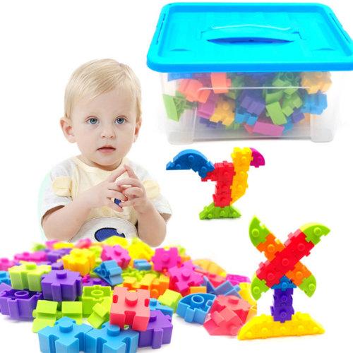 100Pcs Children Puzzle Plastic Assembly Building Block Toy