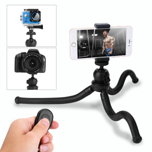 Phone Tripod, HOVNEE Mini Tripod Flexible and 5.5in Adjustable Phone Stand Holder with Wireless Remote Shutter for iPhone, Android Phone, Camera...
