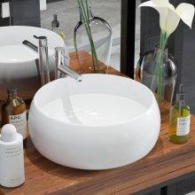 142340 vidaXL Basin Round Ceramic White 40x16 cm