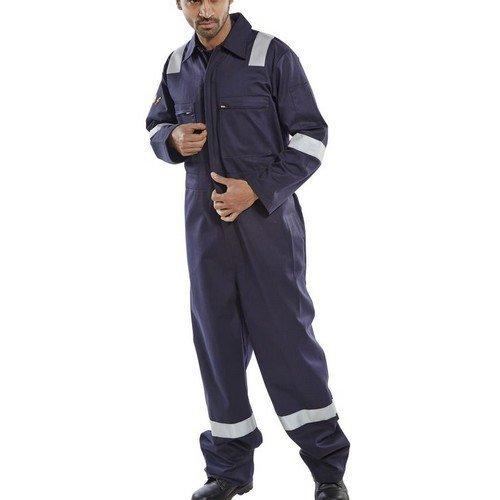 """Click CFRASBBSN36 Flame Retardant Anti Static Burgan Boiler Suit Navy Blue 36"""""""