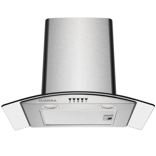CIARRA 60cm Glass Cooker Hood Curved Stainless Steel Chimney Hoods Recirculating Ducting Ventilation Mode 600mm Kitchen Range Extractor Fan with...