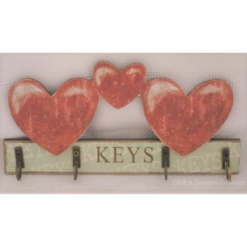 Key Rack Storage Keys Hooks Hearts Green & Brown