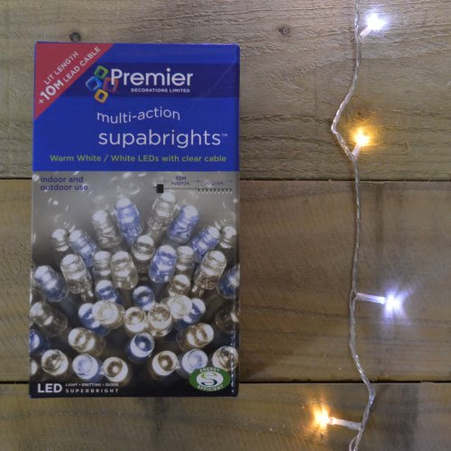 20m 200 Led Premier Outdoor Christmas Lights Warm Cool White Mix On Clear Wire