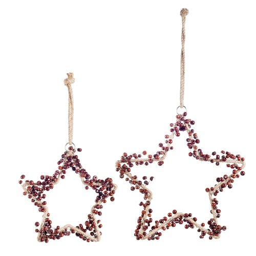 Set of Two Metal Star Hanging Decorations with Wooden Beads