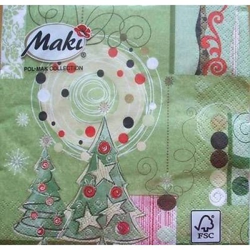 4 x Christmas Paper Napkins - Green Christmas - Ideal for Decoupage