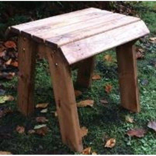 Garden Hand Made Outdoor Rustic Wooden Deluxe Footstool