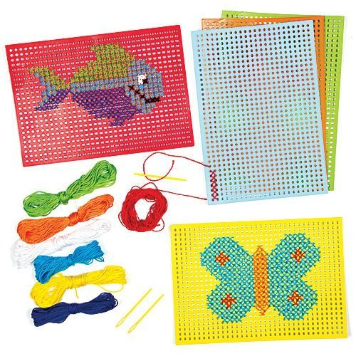 Baker Ross Cross Stitch Kits (Pack Of 6) For Kids Arts and Crafts