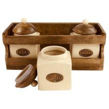Wooden Rack Cabinet with 3 Set Ceramic Tea Coffee Sugar Storage Jars