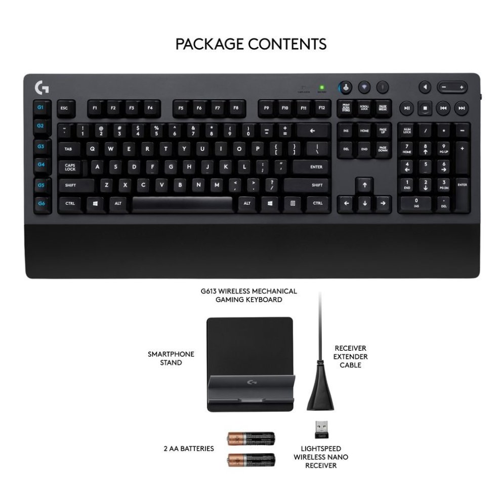 9d2ba71ab5c ... Logitech G613 Wireless Gaming Keyboard (Mechanical Keyboard with  Lightspeed Technology) - US International Layout ...