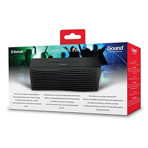 iSound ConcertBlok Pro Rechargeable Portable Wireless Speaker Plus Speakerphone Black