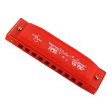 10 Holes Learning Toy Harmonica Wooden Educatial Muscic Toy Red