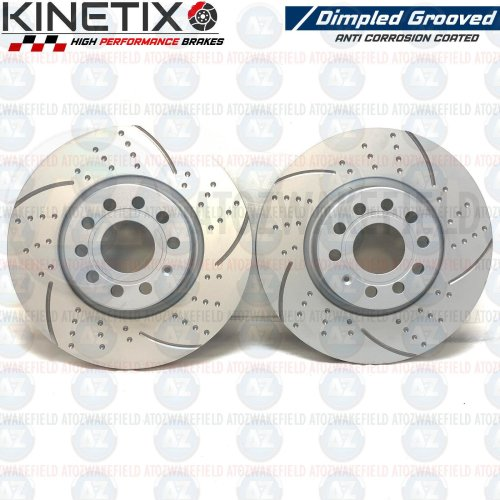 FOR AUDI A3 2.0 TDI FRONT KINETIX DIMPLED GROOVED BRAKE DISCS PAIR 312mm COATED