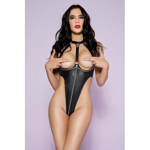 Wetlook Body With Lacing And Open Cups Medium Ladies Lingerie Body - Music Legs