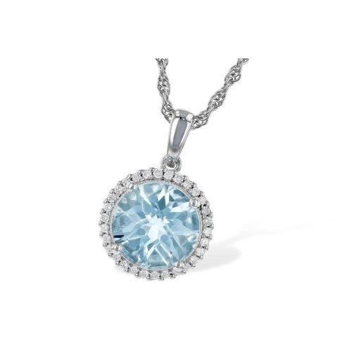 14K White Gold 14.35 Carats Aquamarine And Diamonds Pendant Necklace