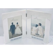 40th Wedding Anniversary Silverplated double photo Frame. then & Now Amore by Juliana