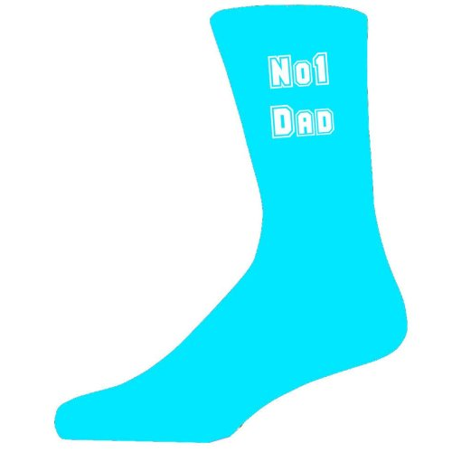 No 1 Dad on Turquoise Socks, Great Birthday Gift. Novelty Socks.