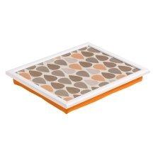 Orange Leaf Print Cushioned Lap Tray