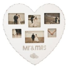 Amore MDF Heart Shaped Multi Aperture Frame Mr. And Mrs.