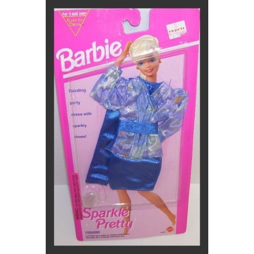 Barbie Doll Sparkle Pretty Blue & Multi-colored Print Jacket, Skirt, Scarf & Shoes Clothing Set