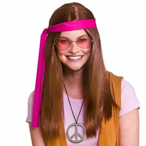 70's Brown Woodstock Hippie Accessory Kit (Wig, Medallion, Glasses)