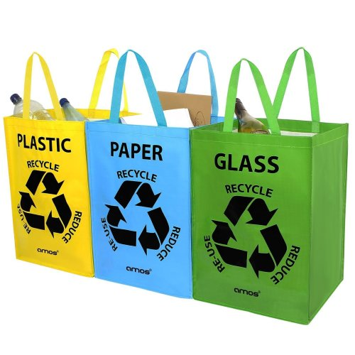 AMOS 3 x Recycling Recycle Bags Reusable Plastic Glass Paper Waste Storage Bins