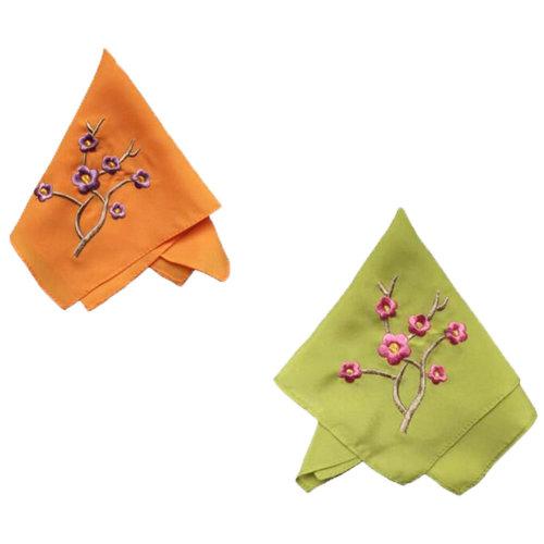 Two Pieces Of Elegant  Retro Plum Flower Embroidered Handkerchiefs-d