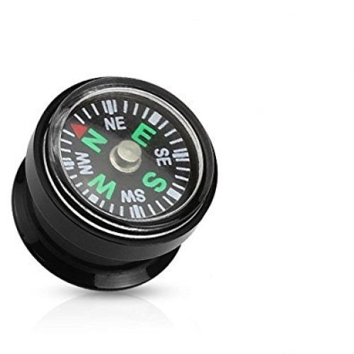 Real Working Compass Inlay Black Screw Fit Surgical Steel Saddle Plug Ear Flesh Tunnel Earring