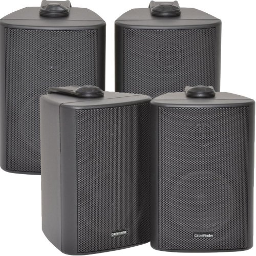 """4x SPEAKERS - 2 Way Compact Stereo Speakers - 3"""" 60W 8Ohm - Black Mini Wall Mounted Background HiFi Quality Speakers"""