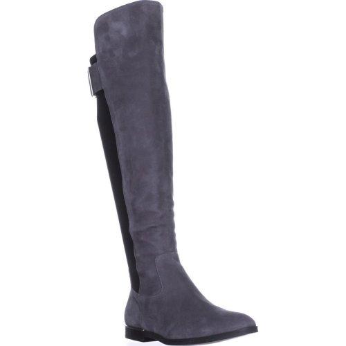 Calvin Klein Priya Wide Calf Knee-High Boots, Slate/Black Suede, 9 UK