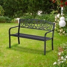 Outsunny 2 Seater Garden Bench in Black