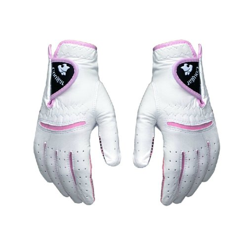 21# Non-slip Women's Golf Gloves Synthetic Leather Pink Both Hand