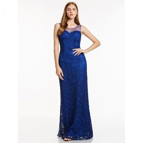 Dressv red long evening dress cheap scoop neck sleeveless sheath lace sweep train wedding party formal dress evening dresses