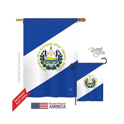 El Salvador 2-Sided Vertical Impression House Flag - 28 x 40 in.