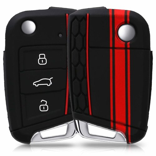 kwmobile VW Golf 7 MK7 Car Key Cover - Silicone Protective Key Fob Cover for VW Golf 7 MK7 3 Button Car Key - Red Black