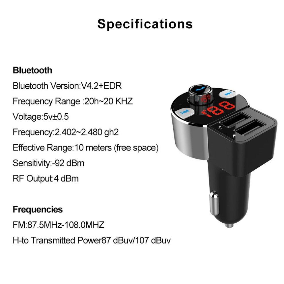 FirstE Bluetooth FM Transmitter Play TF Card/USB Flash Drive