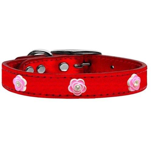 Mirage Pet 83-84 RdM10 Bright Pink Rose Widget Genuine Metallic Leather Dog Collar, Red - Size 10
