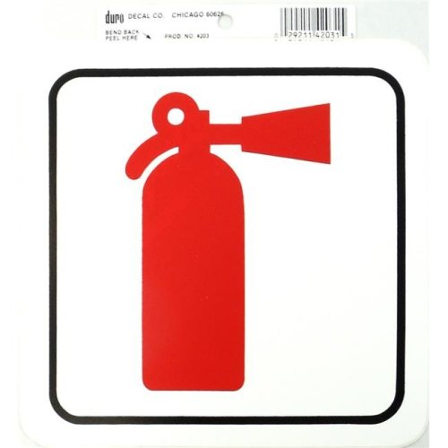 Barjan 454203 Duro 6 x 6 in. Stick-On Fire Extinguisher Decal - Pack of 12