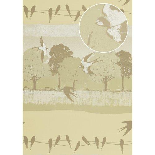 Atlas SIG-583-1 Birds wallpaper metallic highlights ivory grey 5.33 sqm