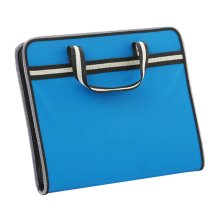 A4 Multilayer Portable Zipper File Pocket Student Papers Briefcase-Blue