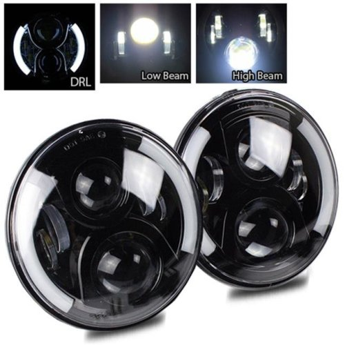 TurboMetal 7 in. Round Cree Black LED Projector Headlight for Jeep JK TJ LJ CJ