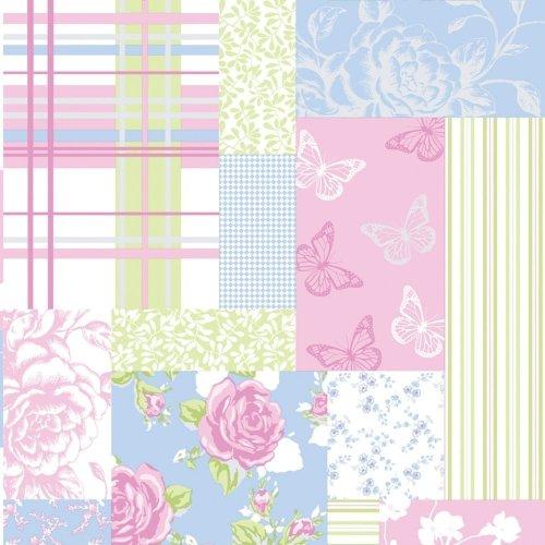 Sky Blue/Pink - M0720 - Pollyanna - Patchwork Rose Shabby Chic - Col