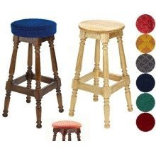 Tamara Wood Bar Stool - Padded / Unpadded Cream Faux Leather Button Seat Dark Oak