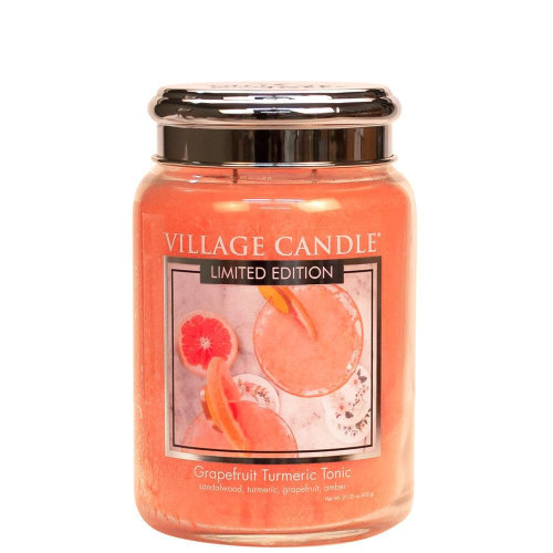 Village Candle 26oz Scented American Large Jar Candle with Double Wick Grapefruit Turmeric Tonic