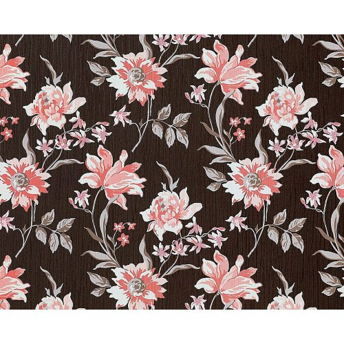 EDEM 900-15 non-woven wallpaper flowers fabric look brown pink white   10.65 sqm